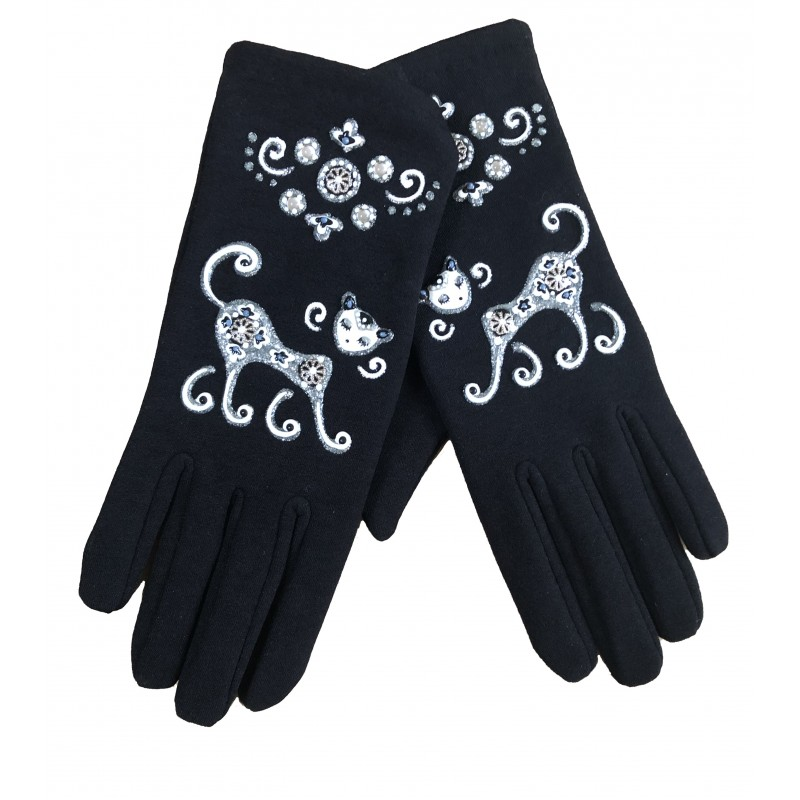 Gants chat noir et blanc Quand les poules auront des gants