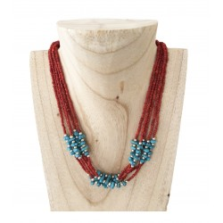 Collier Nepal turquoise et corail