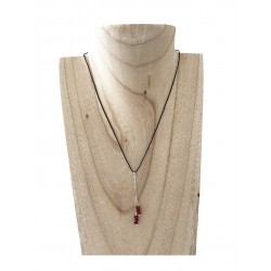 Collier  Yuna  leabo argent rouge